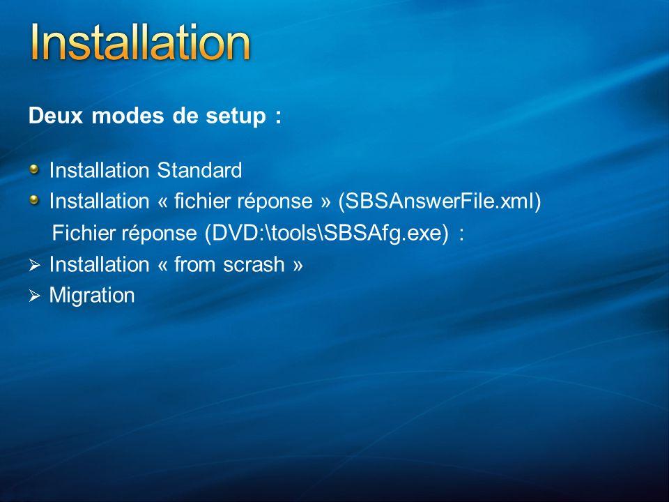 Deux modes de setup : Installation Standard Installation « fichier réponse » (SBSAnswerFile.xml) Fichier réponse (DVD:\tools\SBSAfg.exe) : Installation « from scrash » Migration