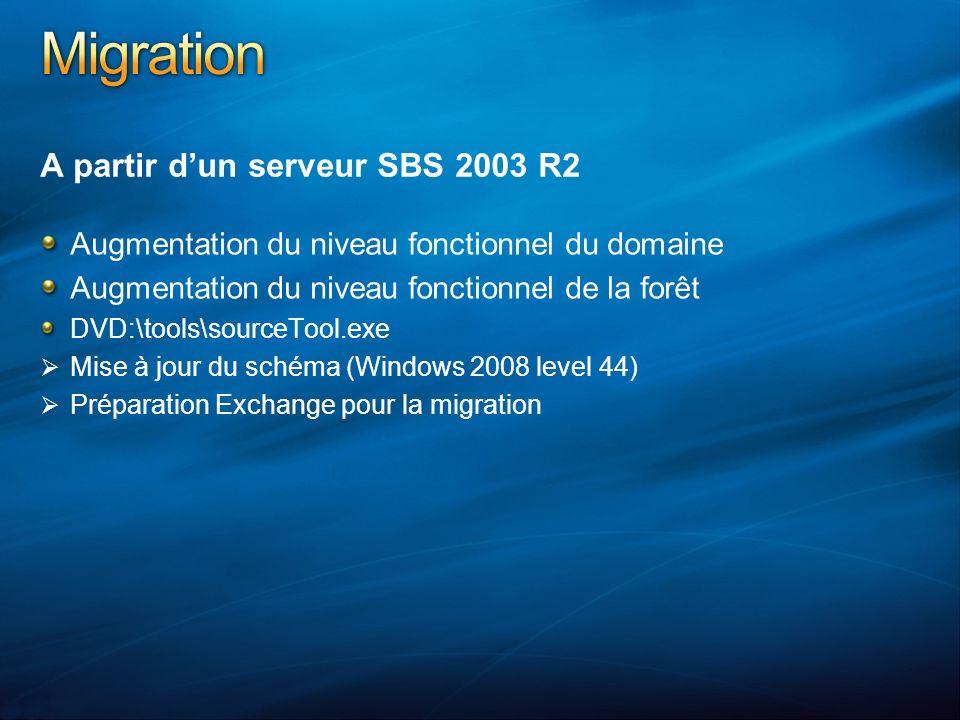 A partir dun serveur SBS 2003 R2 Augmentation du niveau fonctionnel du domaine Augmentation du niveau fonctionnel de la forêt DVD:\tools\sourceTool.ex
