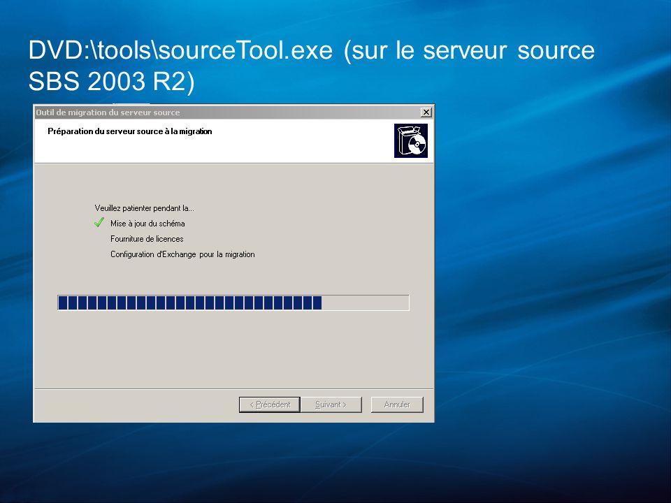 DVD:\tools\sourceTool.exe (sur le serveur source SBS 2003 R2)
