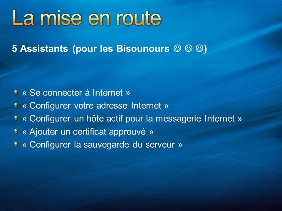 5 Assistants (pour les Bisounours ) « Se connecter à Internet » « Configurer votre adresse Internet » « Configurer un hôte actif pour la messagerie Internet » « Ajouter un certificat approuvé » « Configurer la sauvegarde du serveur »