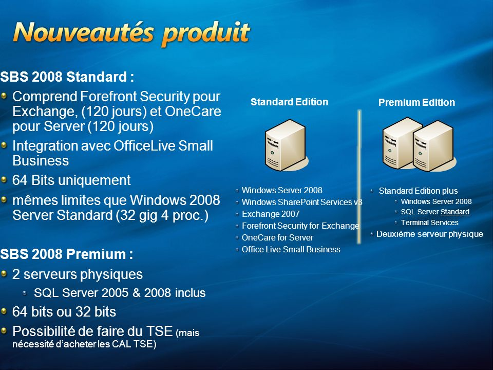 Windows Server 2008 Windows SharePoint Services v3 Exchange 2007 Forefront Security for Exchange OneCare for Server Office Live Small Business SBS 2008 Standard : Comprend Forefront Security pour Exchange, (120 jours) et OneCare pour Server (120 jours) Integration avec OfficeLive Small Business 64 Bits uniquement mêmes limites que Windows 2008 Server Standard (32 gig 4 proc.) SBS 2008 Premium : 2 serveurs physiques SQL Server 2005 & 2008 inclus 64 bits ou 32 bits Possibilité de faire du TSE (mais nécessité dacheter les CAL TSE) Standard Edition plus Windows Server 2008 SQL Server Standard Terminal Services Deuxième serveur physique Standard Edition Premium Edition