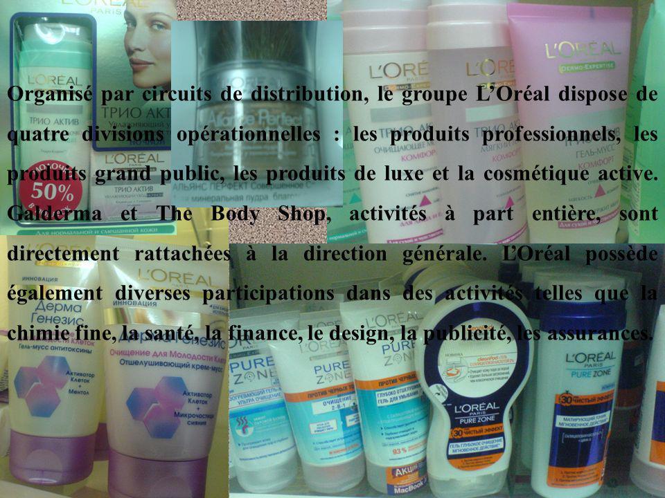 Organisé par circuits de distribution, le groupe LOréal dispose de quatre divisions opérationnelles : les produits professionnels, les produits grand