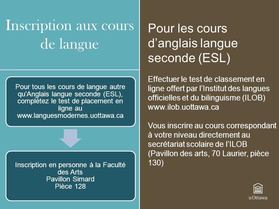 Inscription aux cours de langue Pour les cours danglais langue seconde (ESL) Effectuer le test de classement en ligne offert par lInstitut des langues