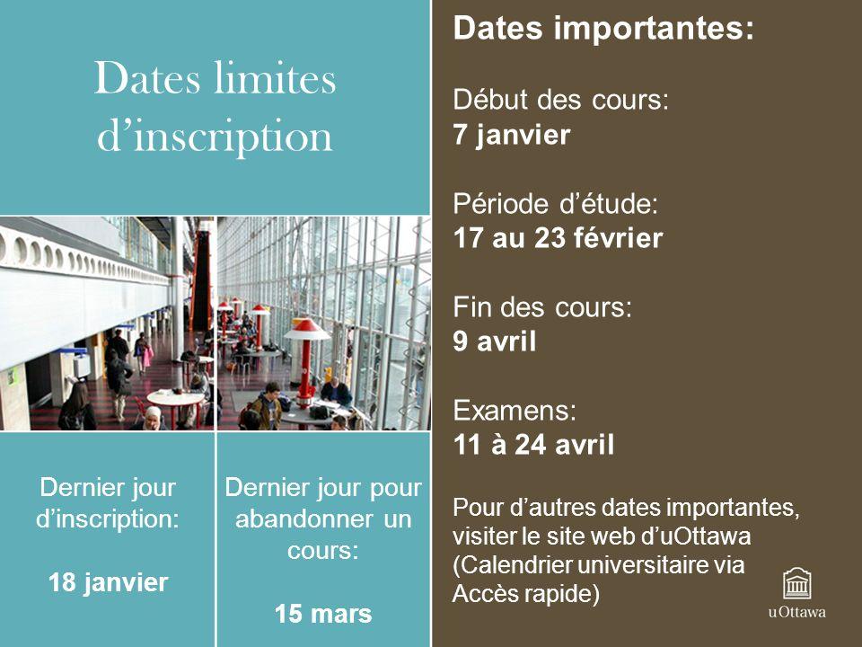 Dates limites dinscription Dernier jour dinscription: 18 janvier Dernier jour pour abandonner un cours: 15 mars Dates importantes: Début des cours: 7