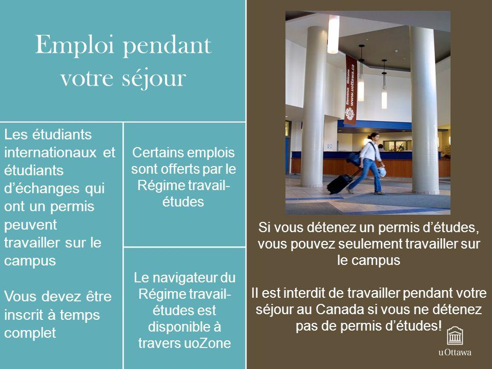 Emploi pendant votre séjour Les étudiants internationaux et étudiants déchanges qui ont un permis peuvent travailler sur le campus Vous devez être ins