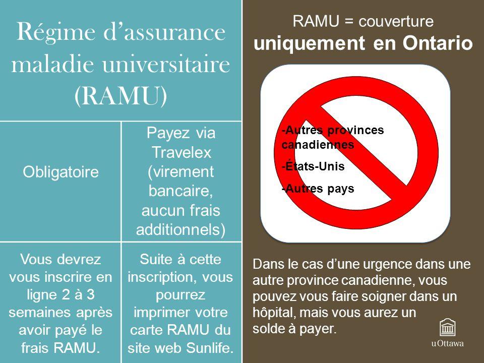 Régime dassurance maladie universitaire (RAMU) Obligatoire Payez via Travelex (virement bancaire, aucun frais additionnels) Vous devrez vous inscrire
