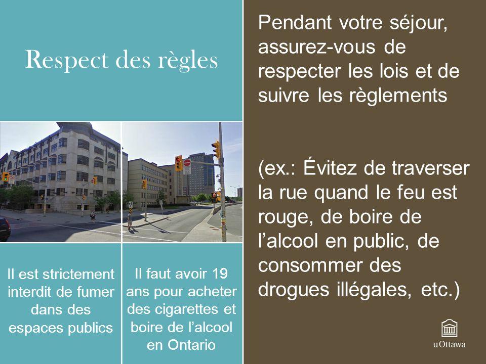 Respect des règles Il est strictement interdit de fumer dans des espaces publics Il faut avoir 19 ans pour acheter des cigarettes et boire de lalcool