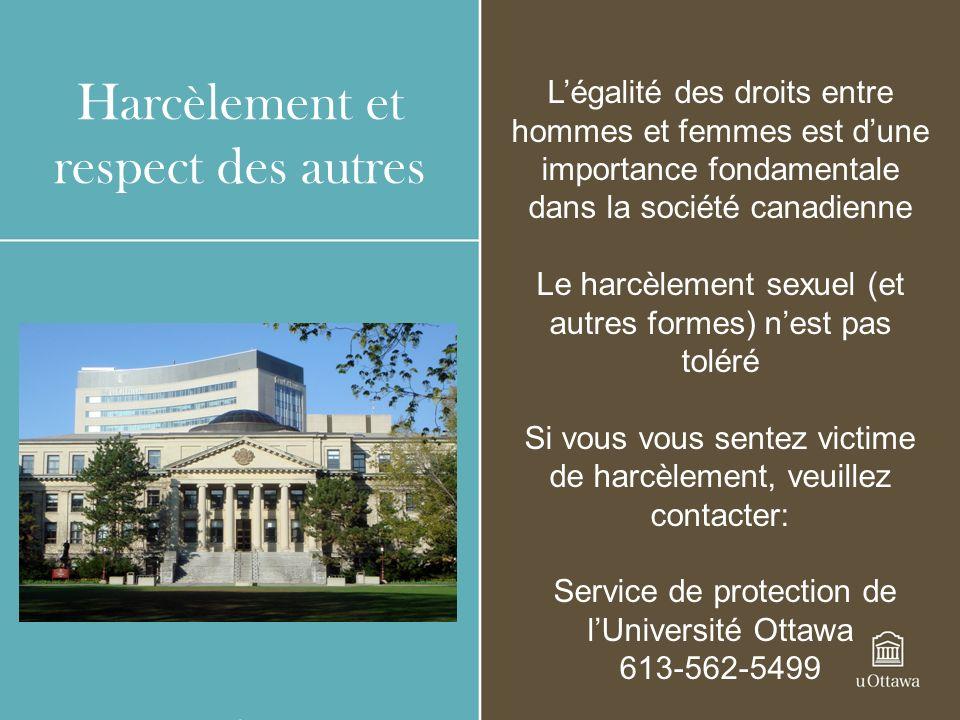Harcèlement et respect des autres Légalité des droits entre hommes et femmes est dune importance fondamentale dans la société canadienne Le harcèlemen