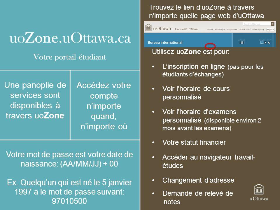 uoZone.uOttawa.ca Utilisez uoZone est pour: Linscription en ligne (pas pour les étudiants déchanges) Voir lhoraire de cours personnalisé Voir lhoraire