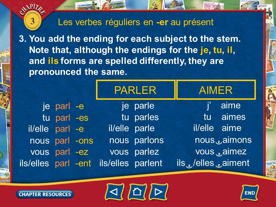 3 Les verbes réguliers en -er au présent StemInfinitive parler aimer parl- écout- aim- écouter 2. French verbs change endings with each subject. To fo
