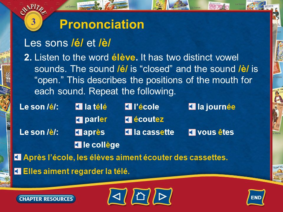 3 Prononciation Les sons /é/ et /è/ 1. There is an important difference in the way French and English vowels are pronounced. When you say the French w