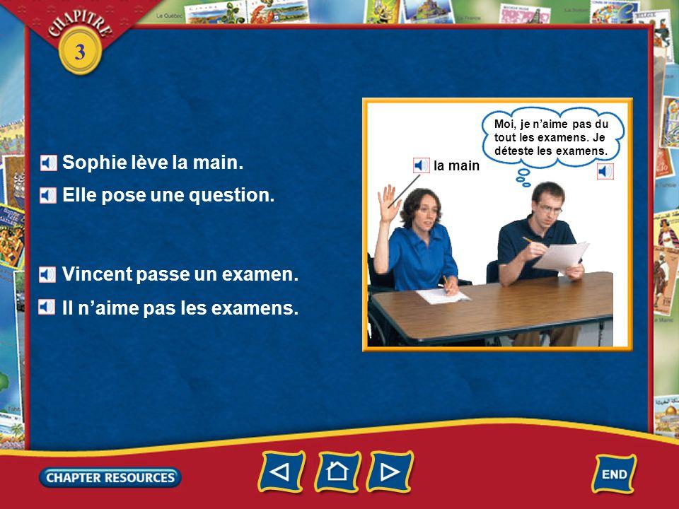 3 Sophie lève la main.Elle pose une question. Vincent passe un examen.