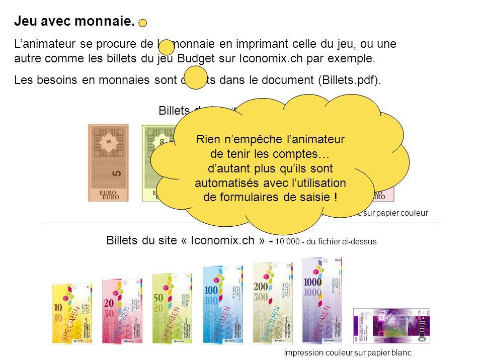 Billets du jeu (Fichier « Billets.pdf ») Billets du site « Iconomix.ch » + 10000.- du fichier ci-dessus Impression noir-blanc sur papier couleur Impression couleur sur papier blanc Jeu avec monnaie.