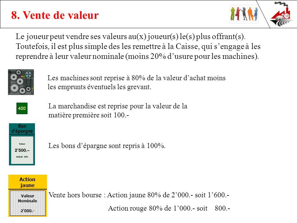 8. Vente de valeur Le joueur peut vendre ses valeurs au(x) joueur(s) le(s) plus offrant(s).