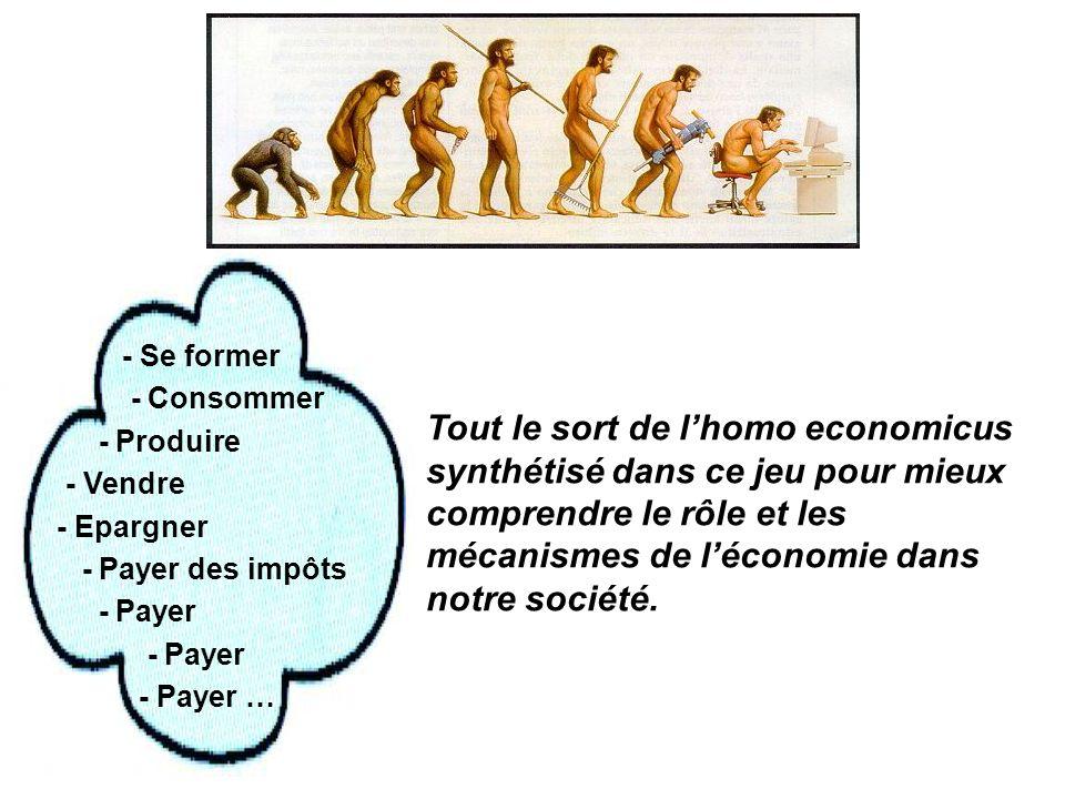 - Se former - Consommer - Produire - Vendre - Epargner - Payer des impôts - Payer - Payer … Tout le sort de lhomo economicus synthétisé dans ce jeu pour mieux comprendre le rôle et les mécanismes de léconomie dans notre société.
