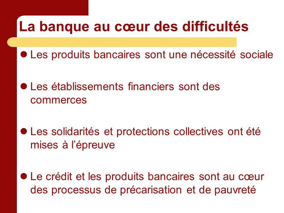 La banque au cœur des difficultés Les produits bancaires sont une nécessité sociale Les établissements financiers sont des commerces Les solidarités et protections collectives ont été mises à lépreuve Le crédit et les produits bancaires sont au cœur des processus de précarisation et de pauvreté
