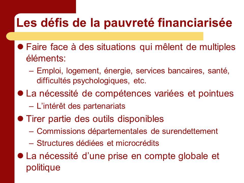 Les défis de la pauvreté financiarisée Faire face à des situations qui mêlent de multiples éléments: –Emploi, logement, énergie, services bancaires, santé, difficultés psychologiques, etc.