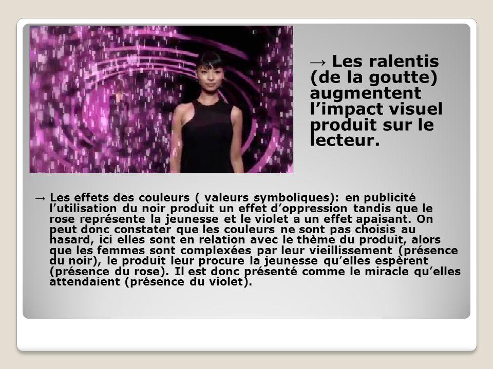 Les effets des couleurs ( valeurs symboliques): en publicité lutilisation du noir produit un effet doppression tandis que le rose représente la jeunes