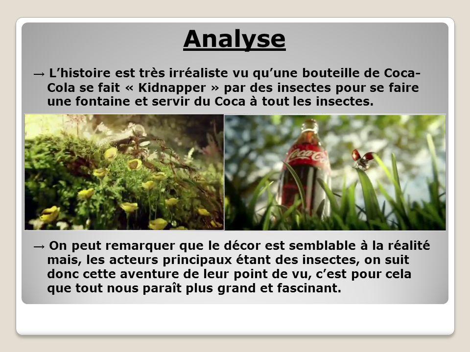 Analyse Lhistoire est très irréaliste vu quune bouteille de Coca- Cola se fait « Kidnapper » par des insectes pour se faire une fontaine et servir du