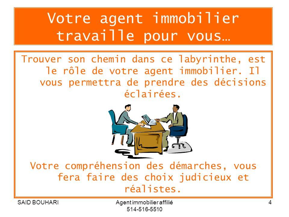 SAID BOUHARIAgent immobilier affilié 514-516-5510 4 Votre agent immobilier travaille pour vous… Trouver son chemin dans ce labyrinthe, est le rôle de