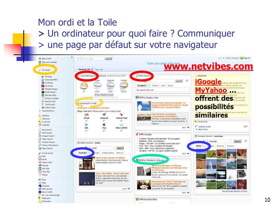 http://www.aiace-luxembourg.eu10 Mon ordi et la Toile > Un ordinateur pour quoi faire ? Communiquer > une page par défaut sur votre navigateur www.net