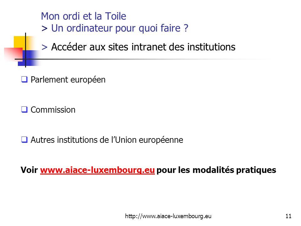 http://www.aiace-luxembourg.eu11 Mon ordi et la Toile > Un ordinateur pour quoi faire ? > Accéder aux sites intranet des institutions Parlement europé