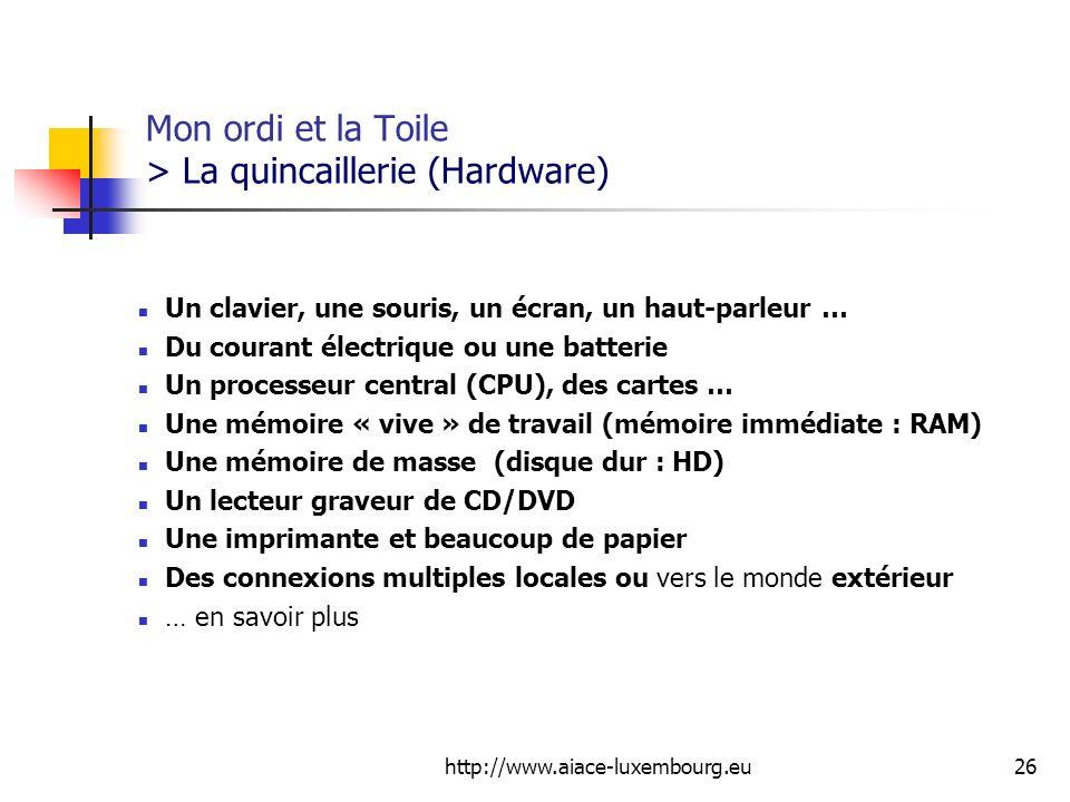 http://www.aiace-luxembourg.eu26 Mon ordi et la Toile > La quincaillerie (Hardware) Un clavier, une souris, un écran, un haut-parleur … Du courant éle