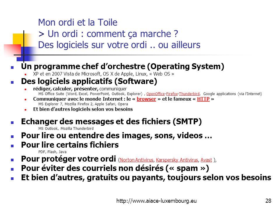 http://www.aiace-luxembourg.eu28 Mon ordi et la Toile > Un ordi : comment ça marche ? Des logiciels sur votre ordi.. ou ailleurs Un programme chef dor
