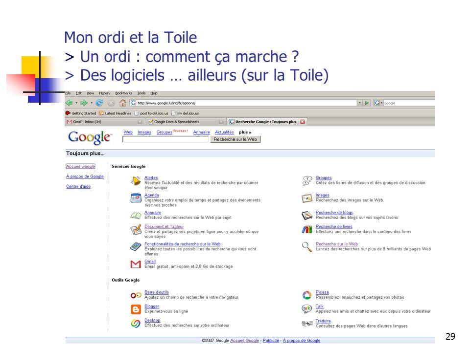 http://www.aiace-luxembourg.eu29 Mon ordi et la Toile > Un ordi : comment ça marche ? > Des logiciels … ailleurs (sur la Toile)