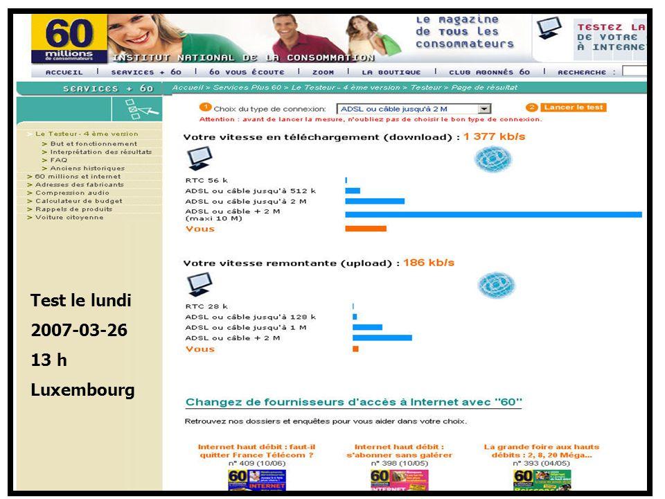 http://www.aiace-luxembourg.eu34 Mon ordi et la Toile > des adresses utiles sur la Toile Test le lundi 2007-03-26 13 h Luxembourg