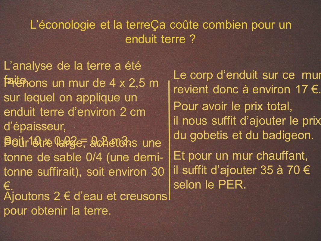 Léconologie et la terreÇa coûte combien pour un enduit terre .
