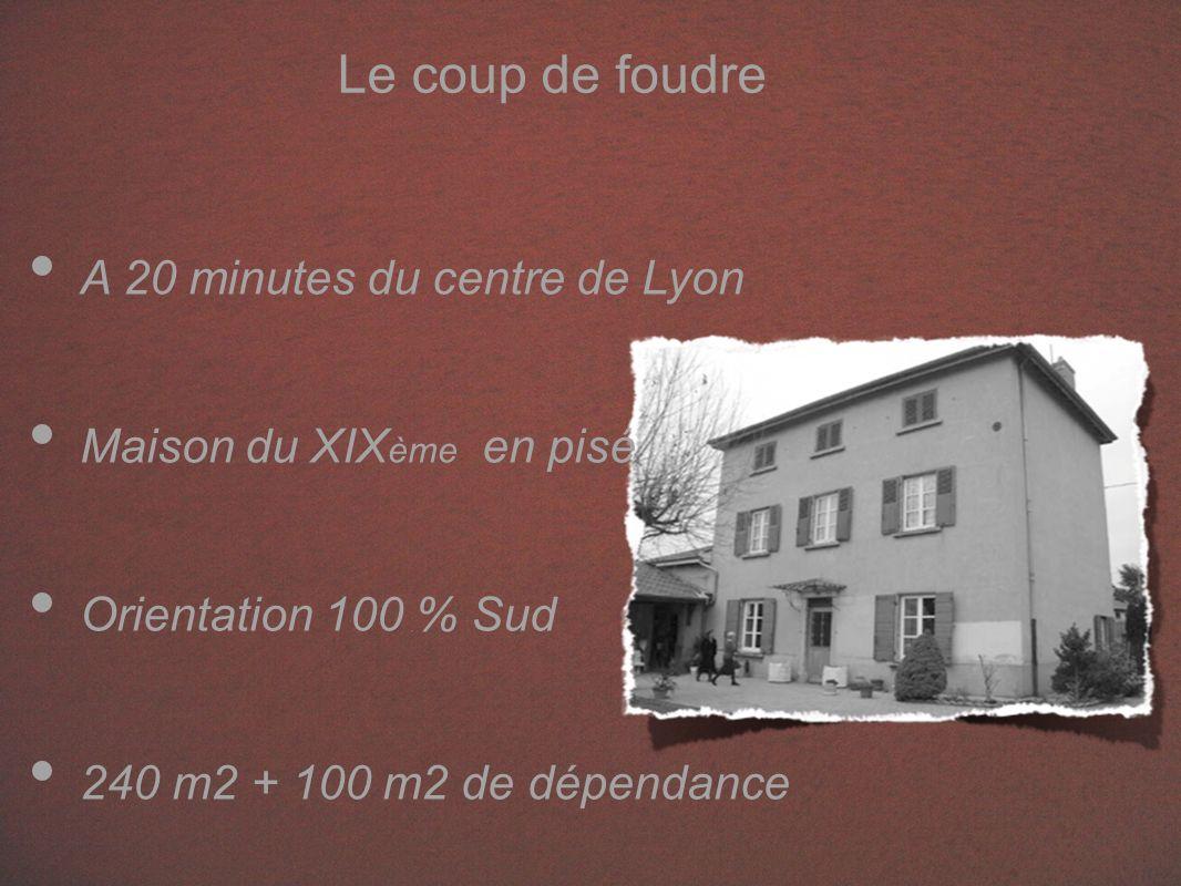 Le coup de foudre A 20 minutes du centre de Lyon Maison du XIX ème en pisé Orientation 100 % Sud 240 m2 + 100 m2 de dépendance