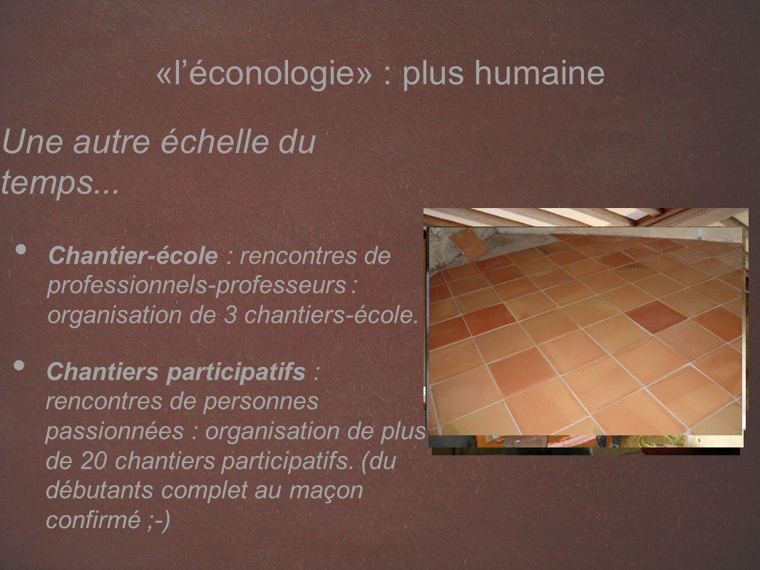 «léconologie» : plus humaine Chantiers participatifs : rencontres de personnes passionnées : organisation de plus de 20 chantiers participatifs.