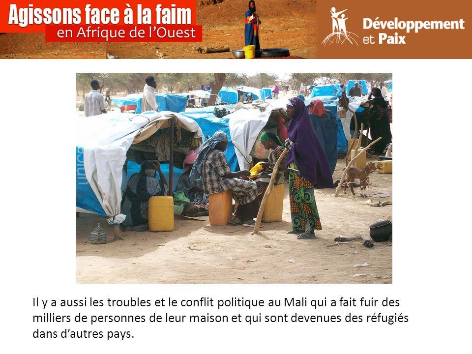 Il y a aussi les troubles et le conflit politique au Mali qui a fait fuir des milliers de personnes de leur maison et qui sont devenues des réfugiés dans dautres pays.