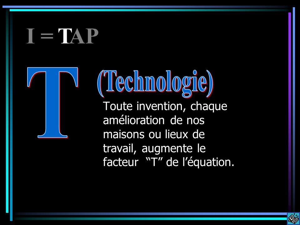 Toute invention, chaque amélioration de nos maisons ou lieux de travail, augmente le facteur T de léquation. I = APT