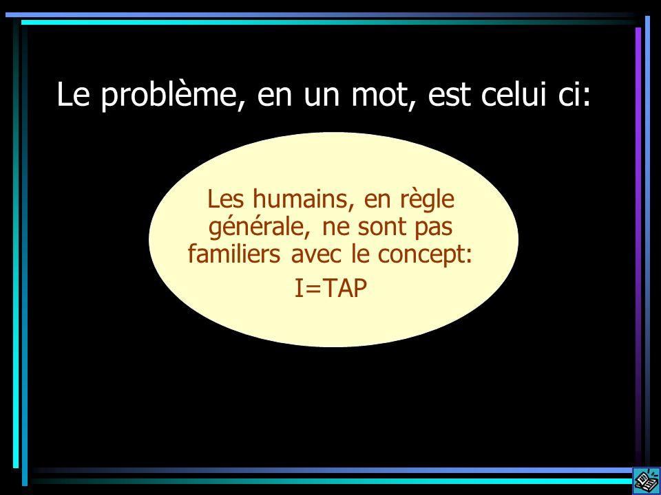 Le problème, en un mot, est celui ci: Les humains, en règle générale, ne sont pas familiers avec le concept: I=TAP