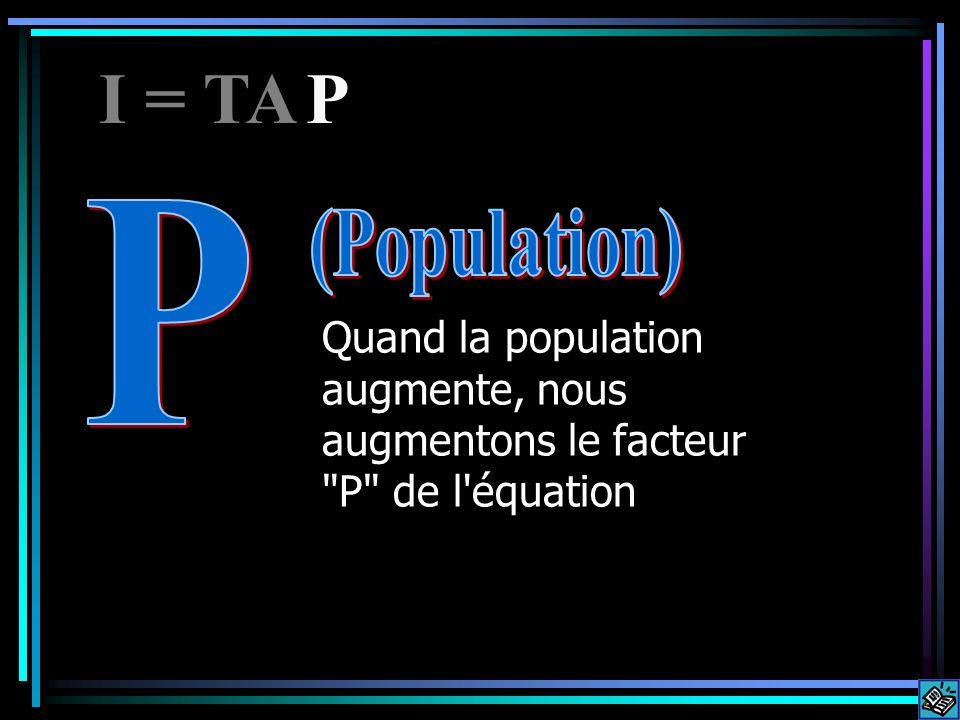 Quand la population augmente, nous augmentons le facteur P de l équation I = TAP