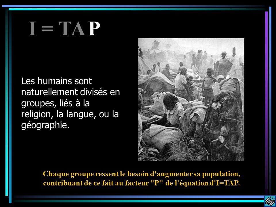 Les humains sont naturellement divisés en groupes, liés à la religion, la langue, ou la géographie. Chaque groupe ressent le besoin d'augmenter sa pop
