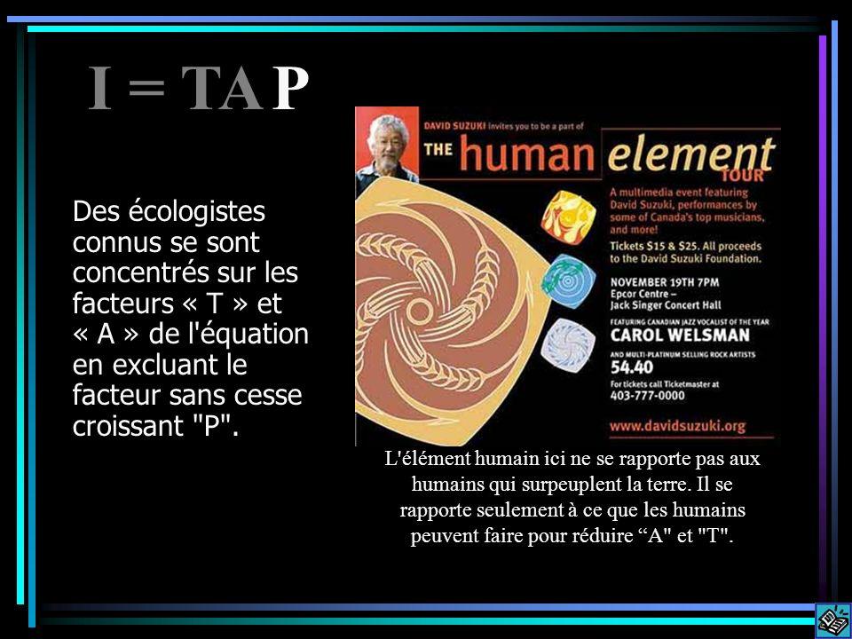 Des écologistes connus se sont concentrés sur les facteurs « T » et « A » de l équation en excluant le facteur sans cesse croissant P .