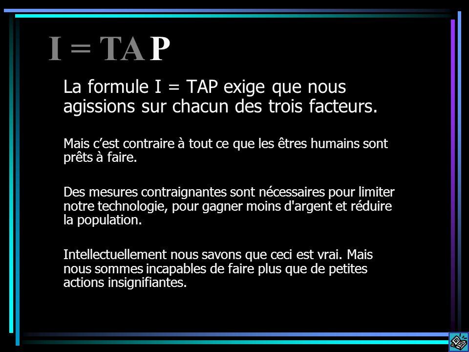 La formule I = TAP exige que nous agissions sur chacun des trois facteurs. Mais cest contraire à tout ce que les êtres humains sont prêts à faire. Des