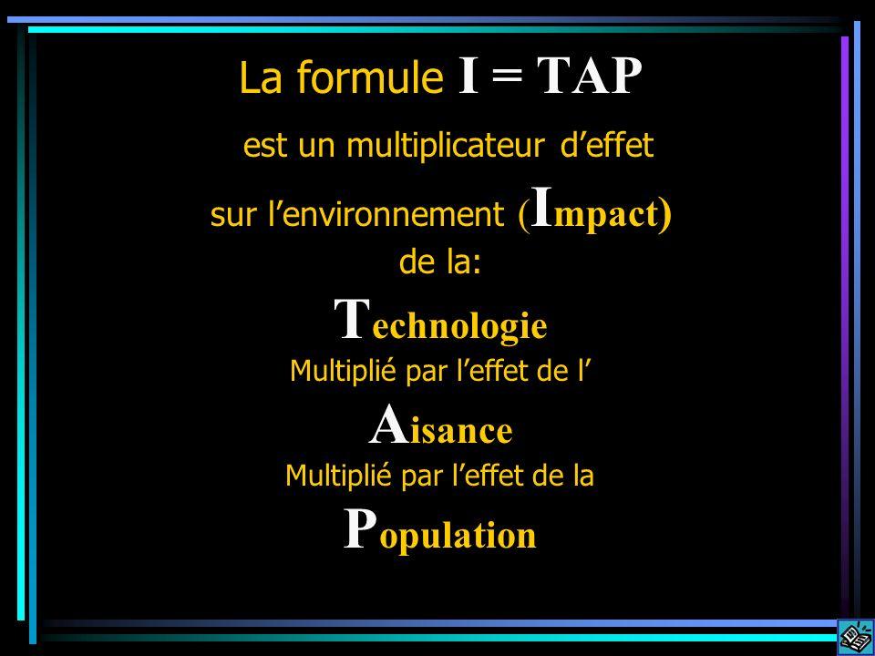 T echnologie Multiplié par leffet de l A isance Multiplié par leffet de la P opulation La formule I = TAP est un multiplicateur deffet sur lenvironnem