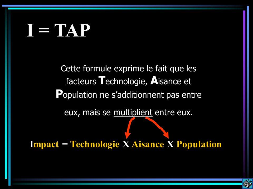 Cette formule exprime le fait que les facteurs T echnologie, A isance et P opulation ne sadditionnent pas entre eux, mais se multiplient entre eux. I