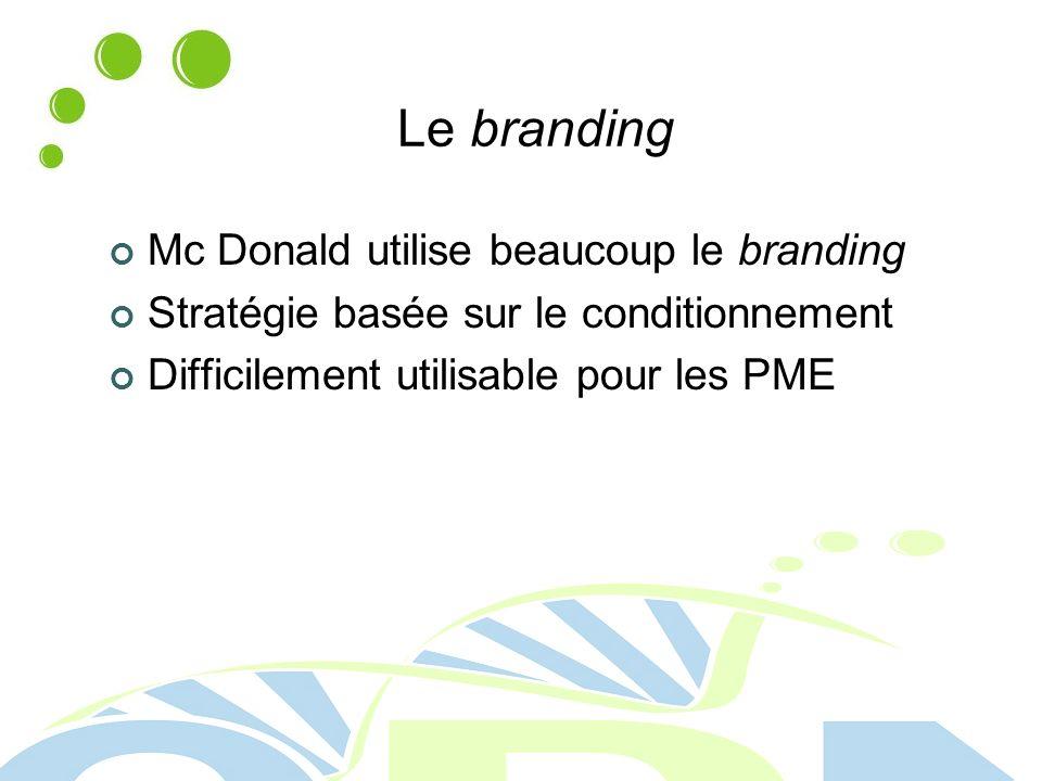Le branding Mc Donald utilise beaucoup le branding Stratégie basée sur le conditionnement Difficilement utilisable pour les PME