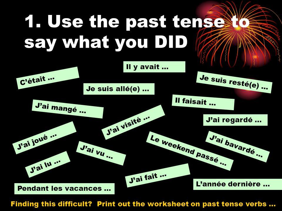 1. Use the past tense to say what you DID Cétait … Il faisait … Il y avait … Je suis allé(e) … Jai mangé … Jai vu … Jai visité … Je suis resté(e) … Ja