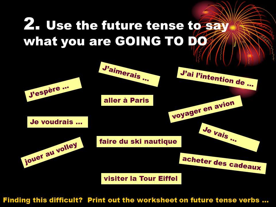 2. Use the future tense to say what you are GOING TO DO Jespère … Je voudrais … Jaimerais … Je vais … Jai lintention de … visiter la Tour Eiffel aller