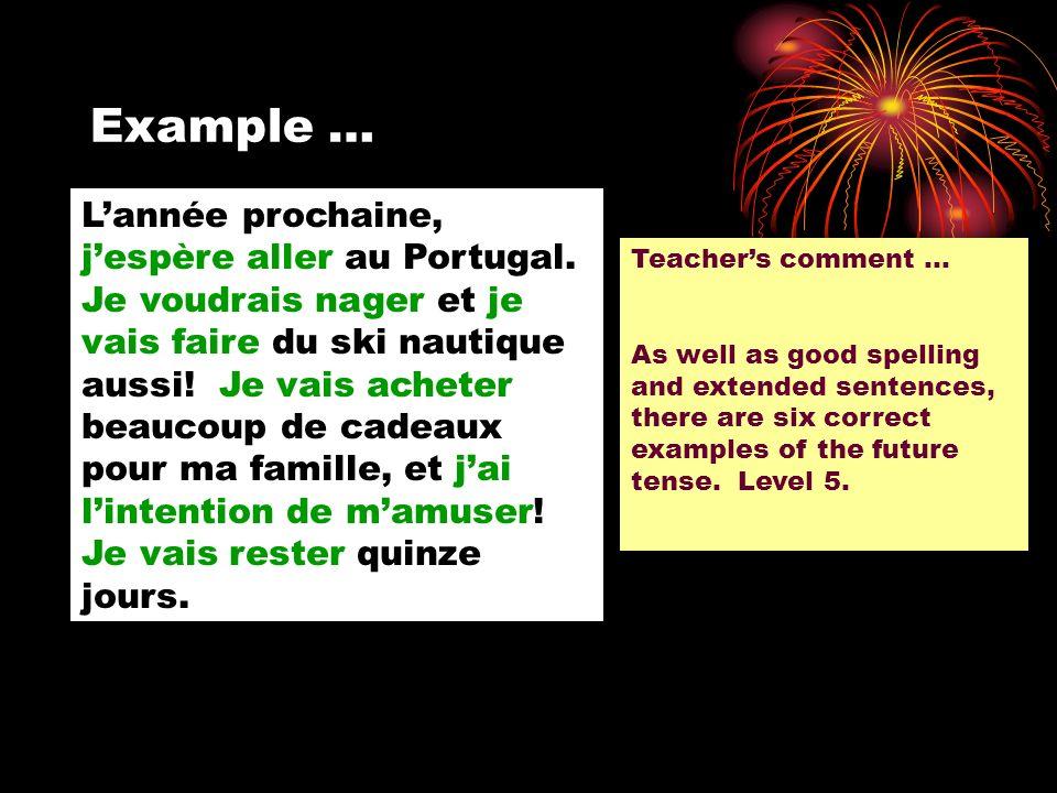 Example … Lannée prochaine, jespère aller au Portugal. Je voudrais nager et je vais faire du ski nautique aussi! Je vais acheter beaucoup de cadeaux p