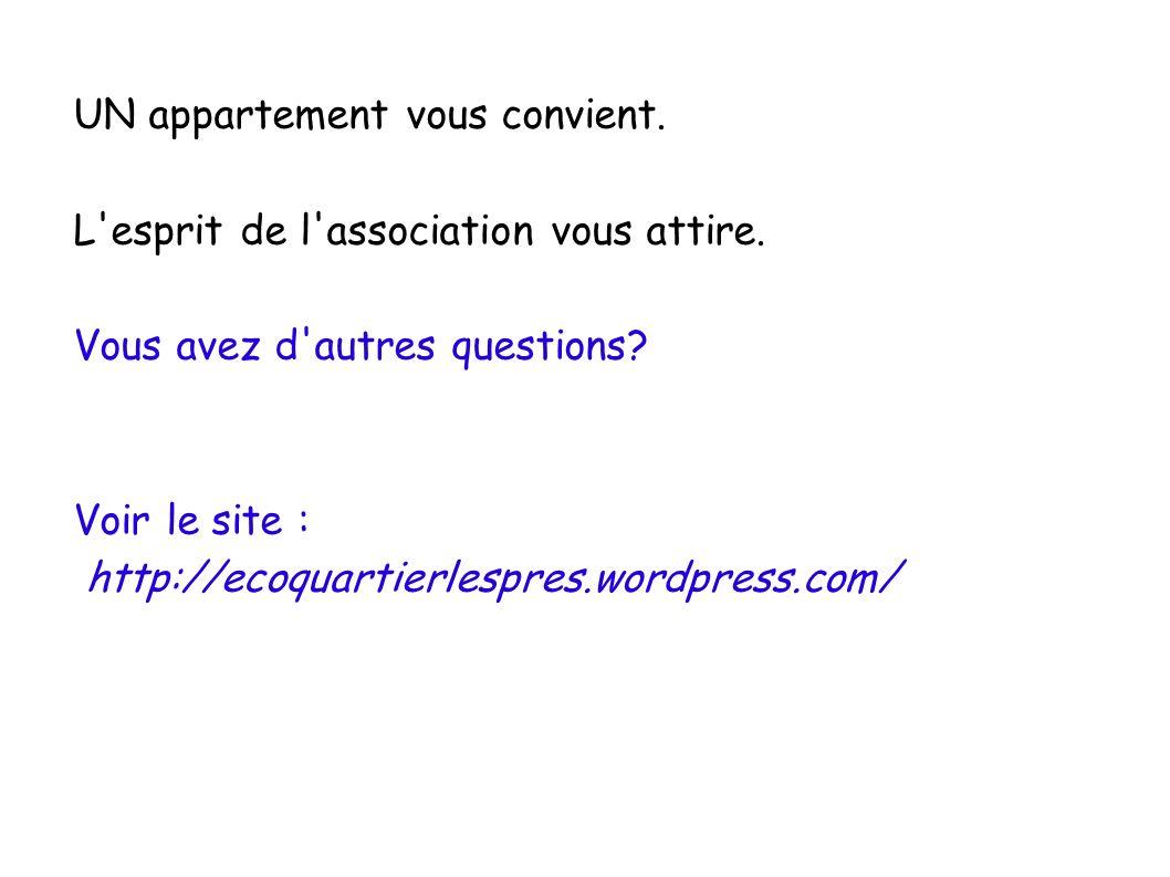 UN appartement vous convient. L'esprit de l'association vous attire. Vous avez d'autres questions? Voir le site : http://ecoquartierlespres.wordpress.