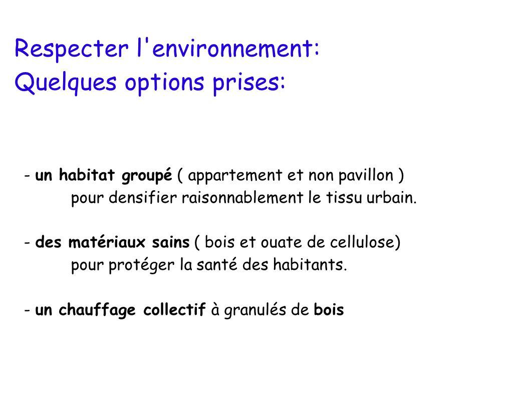 Respecter l'environnement: Quelques options prises: - un habitat groupé ( appartement et non pavillon ) pour densifier raisonnablement le tissu urbain