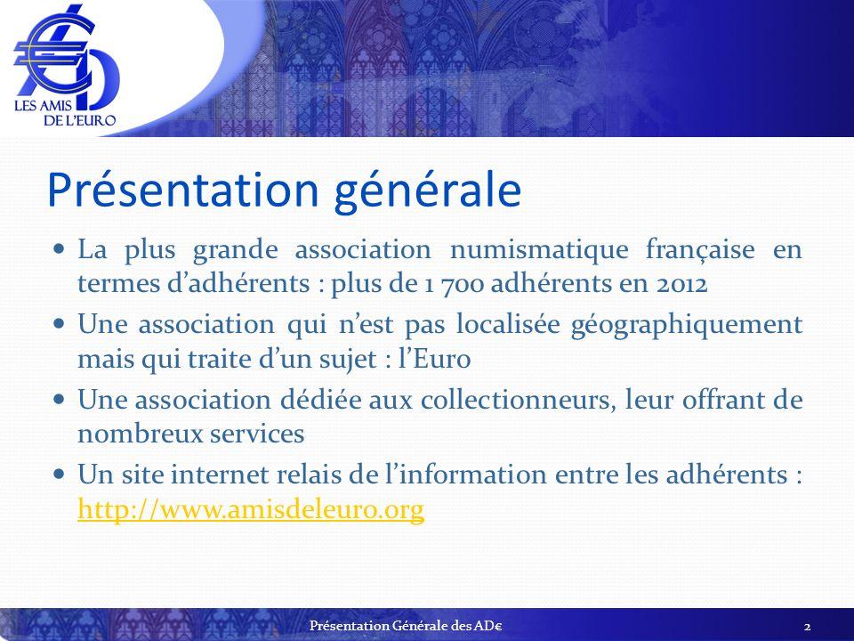 Présentation générale La plus grande association numismatique française en termes dadhérents : plus de 1 700 adhérents en 2012 Une association qui nes