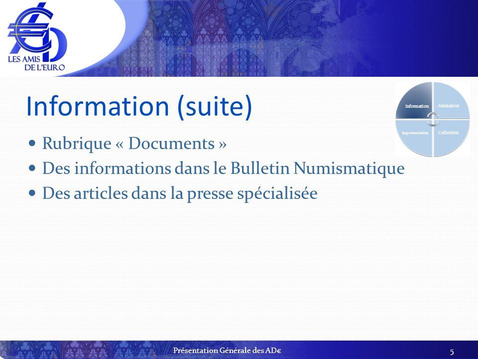 Information (suite) Rubrique « Documents » Des informations dans le Bulletin Numismatique Des articles dans la presse spécialisée 5 Information Animat